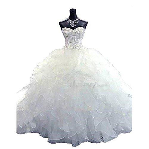 BridalAffair Noble Sweetheart Beaded Organza Wedding Dresses Bridal Gowns