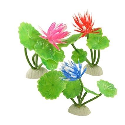Amazon.com : eDealMax Jardín del lirio de agua del acuario Plantas DE 3 piezas de plástico Con Base, Azul/Morado / rosa/rosa : Pet Supplies