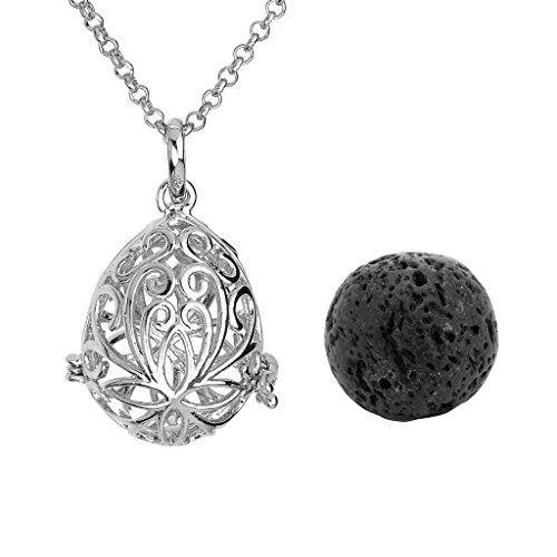 JOVIVI Silver Plated Natural Lava Stone Aromatherapy Teardrop Pendant/Locket Essential Oil Diffuser Necklace 28