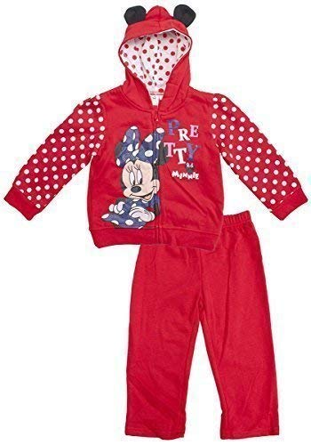 Girls Disney Minnie Mouse Zip Hoody Tracksuit Jog Suit with Ears Sizes from 6 to 23 Months