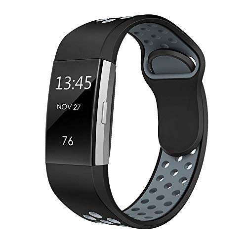 SWEES Silicone Sport Bands Compatible Fitbit Charge 2, Breathable Sport Replacement Bands with Air Holes Small & Large (5.7