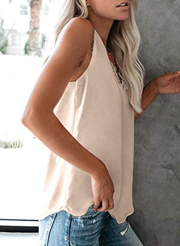 CANIKAT Womens V Neck Crochet Lace Strappy Cami Tank Tops Casual Loose Sleeveless Shirts Blouses