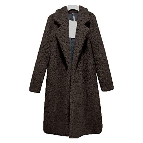 2019 Winter Thicken Women Long Coat Faux Fur ETS Teddy Bear Cardigan Plus Size Outwear Fashion,Brown,L ()