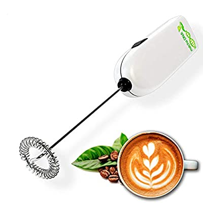 MatchaDNA Milk Frother - Handheld Battery Operated Electric Foam Maker For Bulletproof Coffee, Lattes, Cappuccino, Hot Chocolate, Sleek Drink Mixer ((Round Tip Model 2) (Silver 1 Pack) by MatchaDNA