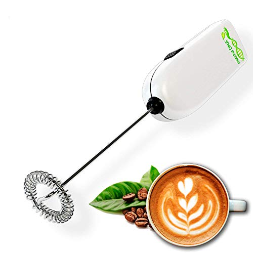 MatchaDNA Silver Handheld Battery Operated Electric Milk Frother (Round Tip Model 2) (Silver)