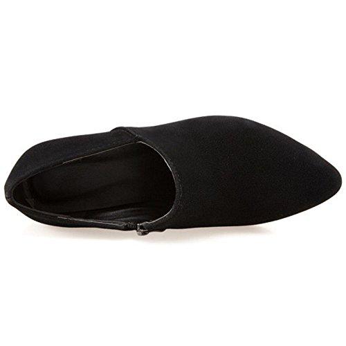 TAOFFEN Black Autumn Shoes Women Heel Pumps 5 Block rOzwr8q