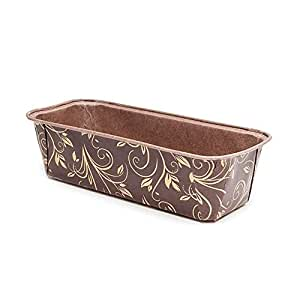 Premium Paper Baking Loaf Pan, Perfect for Chocolate Cake, Banana Bread, Brown with Gold Print, Set of 10 - by EcoBake