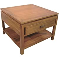 NES Furniture Nes Fine Handcrafted Furniture Solid Teak Wood Lana End Table - 24, Natural