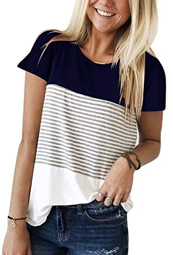 Adreamly Women's Casual Short Sleeve Round Neck Triple Color Block Stripe T-Shirt Tunic Tops Blouses Navy Blue Large