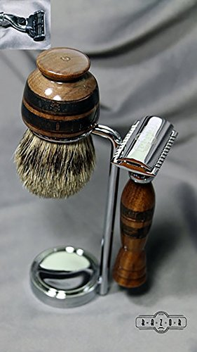 American Walnut Safety Razor Shaving Kit with Etched Brass Fireman Design and AAA Grade Badger Hair Brush by Wood Razor