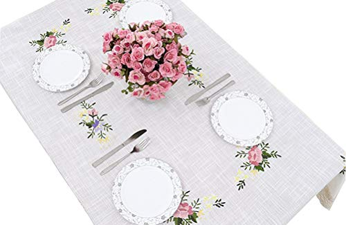 Birchbark Tablecloth 60x84 inches Hand Made Embroidery White Cloth Lace for Rectangle Table Christmas Decoration Home Wedding Party