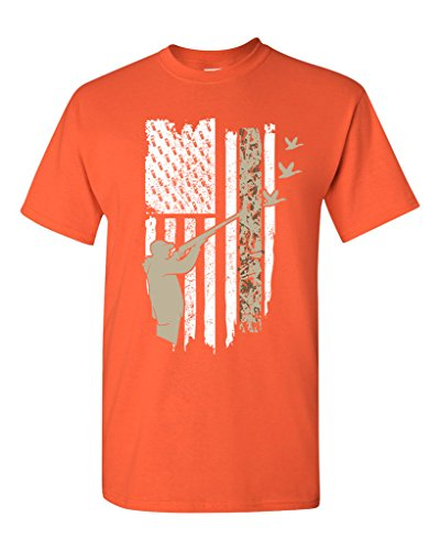 Hunting Shirts Duck (Hunting Flag Gun Rifle Hunt Duck American Flag USA Adult DT T-Shirt Tee (XXXX Large, Orange))
