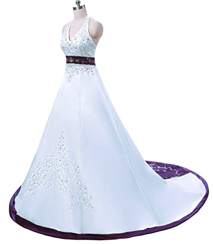 Vantexi Women S Embroidery Satin Halter Wedding Dress Bridal Gown