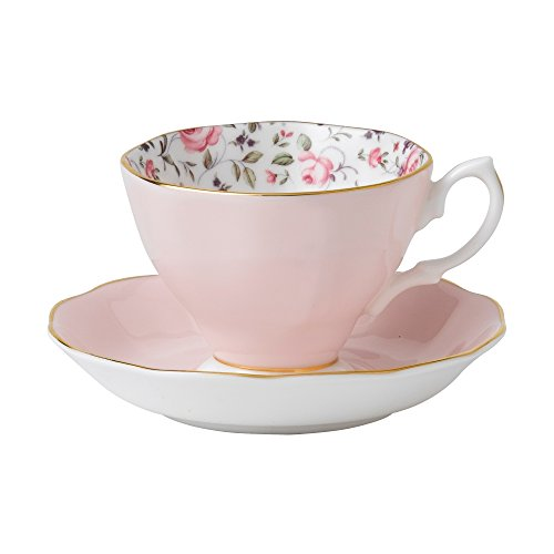 Royal Albert 8704026135 Rose Confetti Formal Vintage Boxed Teacup and Saucer - Set Classic Tea Rose