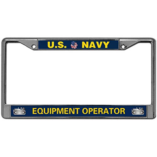 US Navy Equipment Operator Car Licence Plate Frame Covers,United States Navy Personalized License Plate Frame Metal Gills for US Standard Car License