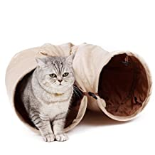 """Cat Tunnel Toys,PAWZ Road Collapsible Pet Play Tube Crinkle 2 Peep Hole for Fat Cats,Rabbits,Ferrets and Dogs,47""""L x 9.8""""Dia - A Lot of Fun with A Soft Ball"""