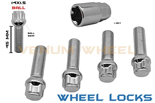 5 Pc M14x1.5 Steel Chrome Wheel Locks Lug Bolts | Ball Seat | 45 mm EXTENDED Shank Length | +1 Key | Compatible With Audi Mercedes Benz Volkswagen W/Factory Wheels