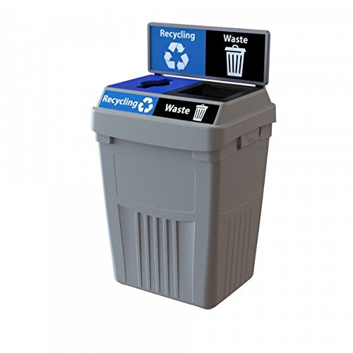 CleanRiver Flex E Bin. Indoor and Outdoor Sturdy 2-in-1 Waste and Recycling bin. Collect 2 Separate Waste Streams in one bin. 50-Gallon-Grey (FX50B-GY2-R-W)