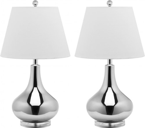 Safavieh Lighting Collection Amy Gourd Glass Table Lamp, Set of 2, Silver