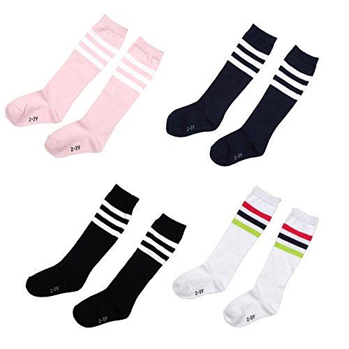 Natuworld Pack of 4 Children Girls Boys Toddlers Cotton Thicken Knee Long Soccer Socks Team Socks for 6-7 Years Old Kids(diffrent color)