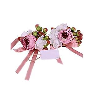 Artificial Leaf Berries Pink Rose Bridesmaid Sisters Hand Flowers Wedding Party Bridal Prom Silk Wrist Corsage Bracelet 102