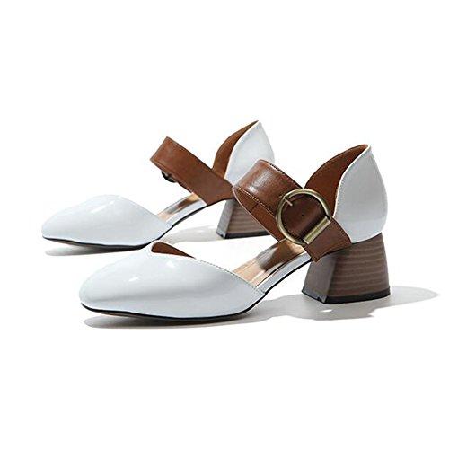 Sandalias CJC Cabeza Hueco Baotou Mujer Medio con  2018 Primavera Verano Nuevo De Las Mujeres Zapatos Europeo Estación Grueso Tacón Casual Cuadrado E