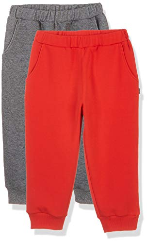 Kid Nation Kids 2 Packs Interlock Causal Capri Pants with Pockets Red+Heather Charcoal Gray L