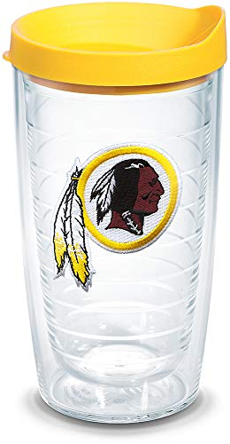 Tervis 1039113 NFL Washington Redskins Primary Logo Tumbler with Emblem and Yellow Lid 16oz, Clear