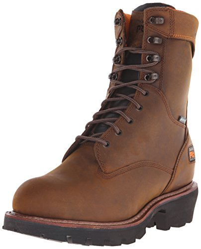 Timberland Pro Mens 9 Rip Saw Soft-Toe Waterproof ins Work Boot Brown Distressed Leather