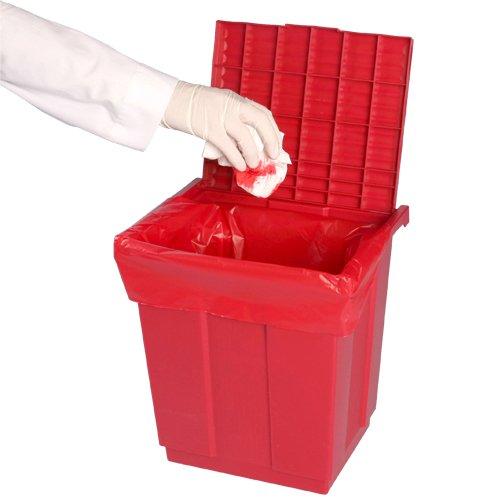 Bel-Art Polypropylene Biohazard Disposal Can with Lift-up Cover for 19W x 23 in. H Bags; 9 x 12 x 11¹/₂ in. (F13197-0000) by SP Scienceware (Image #1)