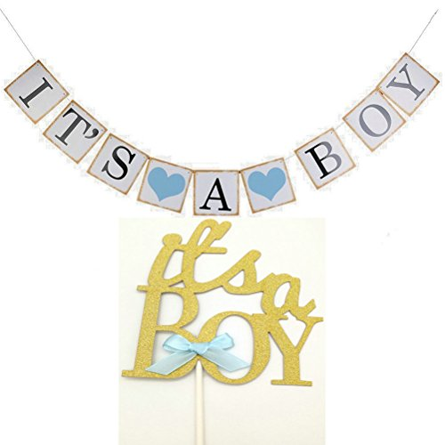 Hemarty Baby Shower 3M Paper Its a Boy Banner With It's A Boy Cake Toppers Cake Flags Party Baptism Decorations Bunting Favors Supplies Blue (Babyshower Banners)