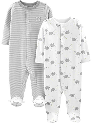 Simple Joys by Carter's Neutral 2-Pack Cotton Footed Sleep And Play Infant-And-Toddler-Bodysuit-Footies Unisex - Bimbi 0… 1