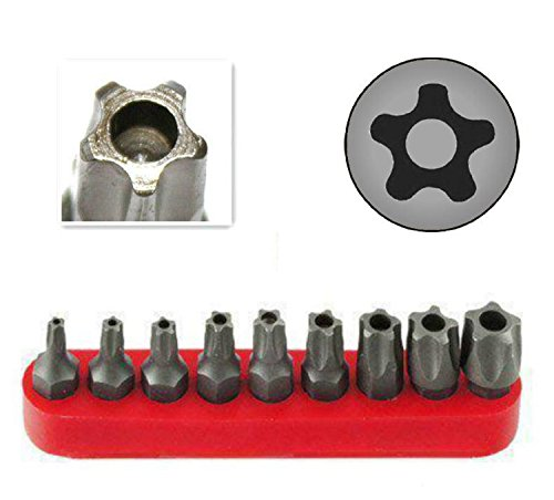 Ram-Pro 9Pc Torx Star 5 Point, Security Tamper Proof, Driver Bit Set - T10, 15,20,25,27,30,40,45,50 - Multifunction Damage/Shear Resistant Hollow Torque Kit