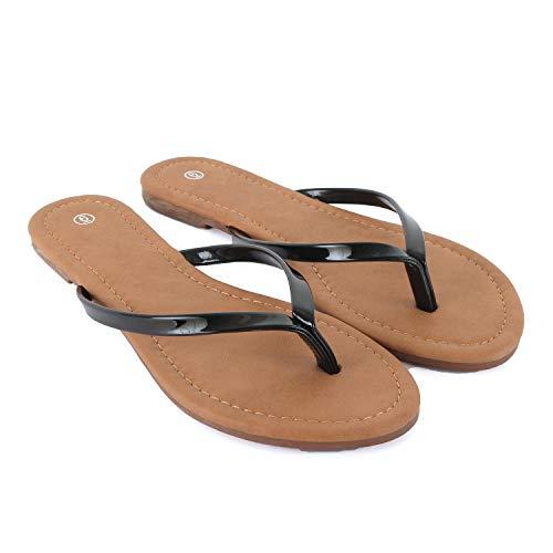 Guilty Heart - Womens Classic Beach Thong Flat Flip Flop Sandal Wedges-Sandals, Black Pat, 7 B(M) - Thong Black Wedge
