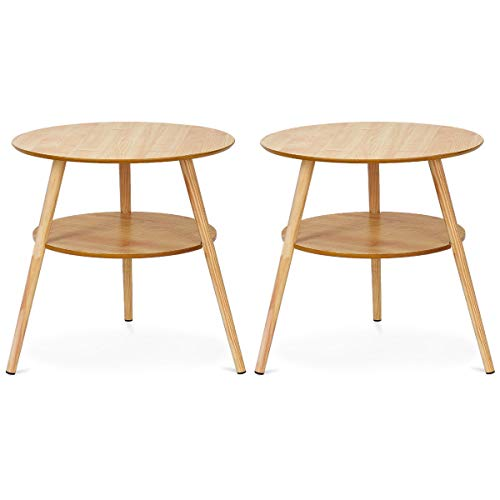 Giantex Set of 2 Two-Tier Coffee Table Round End Table Side Accent Table w/Wood Legs Storage Open Shelf Home Living Room Furniture