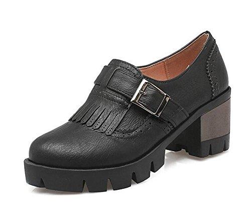 XIE Retro Talón Plano Cinturón de Hebillas de Cinturón borlas Zapatos de Corte, 37 BLACK-39