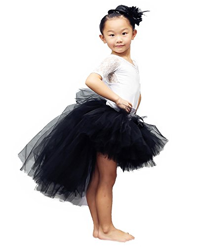 Tutu Dreams Halloween Tutu Skirt with Train for Teens Girls Classic Vintage Black Tutus Dress Ballet Dance(X-Large, Black)