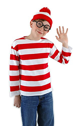 Wheres Waldo Outfit (Where's Waldo Now Costume Adult Funny Sweatshirt Hoodie Outfit Glasses Hat Cap Suits (Small,)
