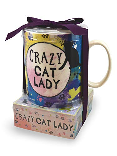 - Crazy Cat Lady Pawprint Blue 12 ounce Glossy Ceramic Mug and Note Stack