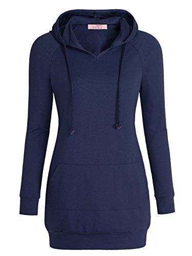 Slivexy - Sudadera con Capucha para Mujer Estilo Largo Azul
