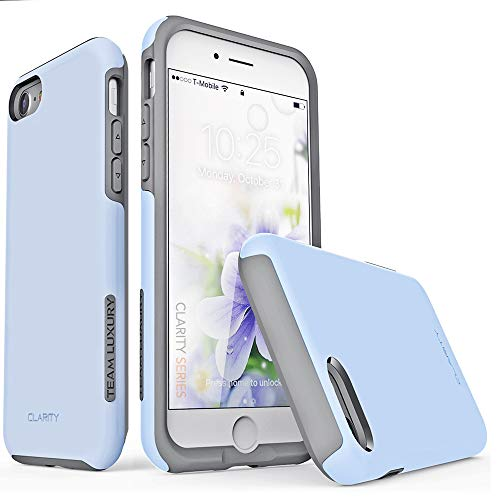 TEAM LUXURY iPhone 7 Case/iPhone 8 Case, [Clarity Series] Blue G-II Ultra Defender TPU + PC [Shock Absorbent] Premium Protective Phone Case -for Apple iPhone 7 & 8 (4.7 Inch) (Serenity/Gray)