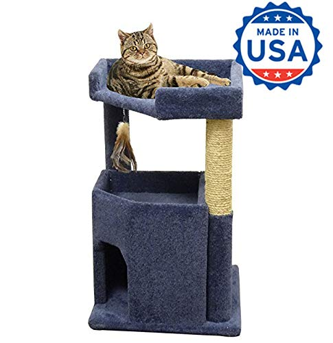 - CozyCatFurniture 33 inches Wooden Kitty Cat House, Made in USA for Large Cats with Sisal Scratching Post and Thick Blue Carpet