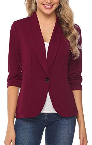 iClosam Women Blazer Jacket 3/4 Ruched Sleeve Open Front Lightweight Work Office Cardigan (Wine Red, XX-Large) (Womens 3/4 Sleeve Jacket)