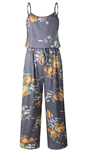 NEWCOSPLAY Women's Sexy Casual Sleeveless Jumpsuit Stretch Wide Long Pants Jumpsuit Rompers (L, 0444yellow)