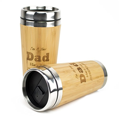 Muttmee - New Dad Engraved Bamboo Travel Mug - Unique Gift Box - Great Way to Congratulate Dads - Keepsake Gift for Father's Day, Christmas, Birthday, New Baby, or Just Because
