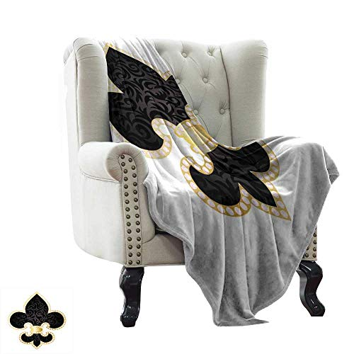 BelleAckerman Travel Blanket Fleur De Lis,Royal Legend Lily Throne France Empire Family Insignia of Knights Image,Black Gold White Microfiber All Season Blanket for Bed or Couch 60