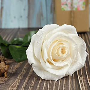 White Paper Rose Handmade Realistic Artificial Rose from Crepe Paper Perfect Paper Gift for Christmas,Wedding Anniversary, Valentine's Day, Mother's Days, Single Long Stem, 01 Flower 75