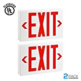 Red LED Exit Sign, UL-Listed Emergency Light, AC 120V/277V, Battery included, Single/Double Face, Ceiling/Side/Back Mount, for Hotels, Restaurants, Shopping Malls, Hospitals, Pack of 2