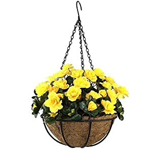 MARJON FlowersOutdoor Artificial Red Azalea Bush Flower Patio Lawn Garden Hanging Basket with Chain Flowerpot,Yellow Outdoor Indoor for Home/Garden Decoration 49