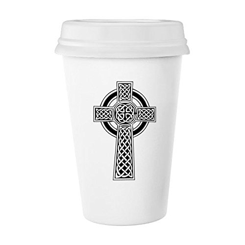 Religion Belief Christianity Church Black White Circle Holy Cross Culture Design Art Illustration Pattern Classic Mug White Pottery Ceramic Cup Milk Coffee Cup 350 ml by DIYthinker